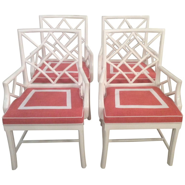 Set of Four Cockpen Armchairs Chairs Chinese Chippendale White Lacquered Vintage