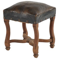 Wood Stool Upholstered in Dark Brown Leather from Late 19th Century France