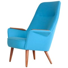 Danish 1950s Lounge Chair with Teak Armrests Upholstered in Kvadrat Divino Wool