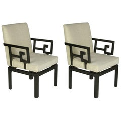 Pair of Michael Taylor for Baker Greek Key Armchairs Far East Collection