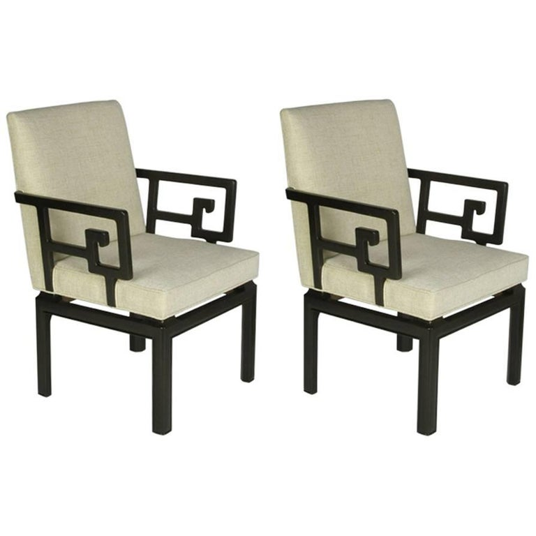 Pair of Michael Taylor for Baker Greek Key Armchairs Far East Collection For Sale