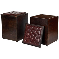 Pair of Wood and Tufted Leather Topped Stools from Late 19th Century England