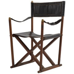 Late 19th Century British Campaign Black Leather Folding Chair