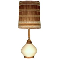 Very Large Ceramic Table Lamp with rope ceramic and shade by Maria Kipp