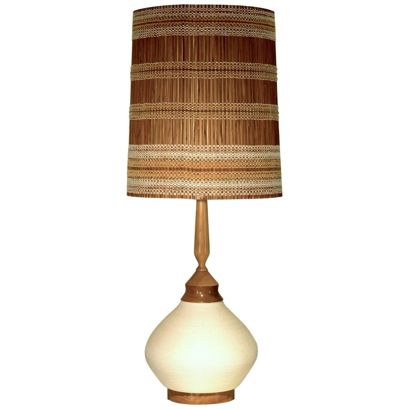 Very Large Ceramic Table Lamp With Rope Ceramic And Shade By Maria Kipp For  Sale