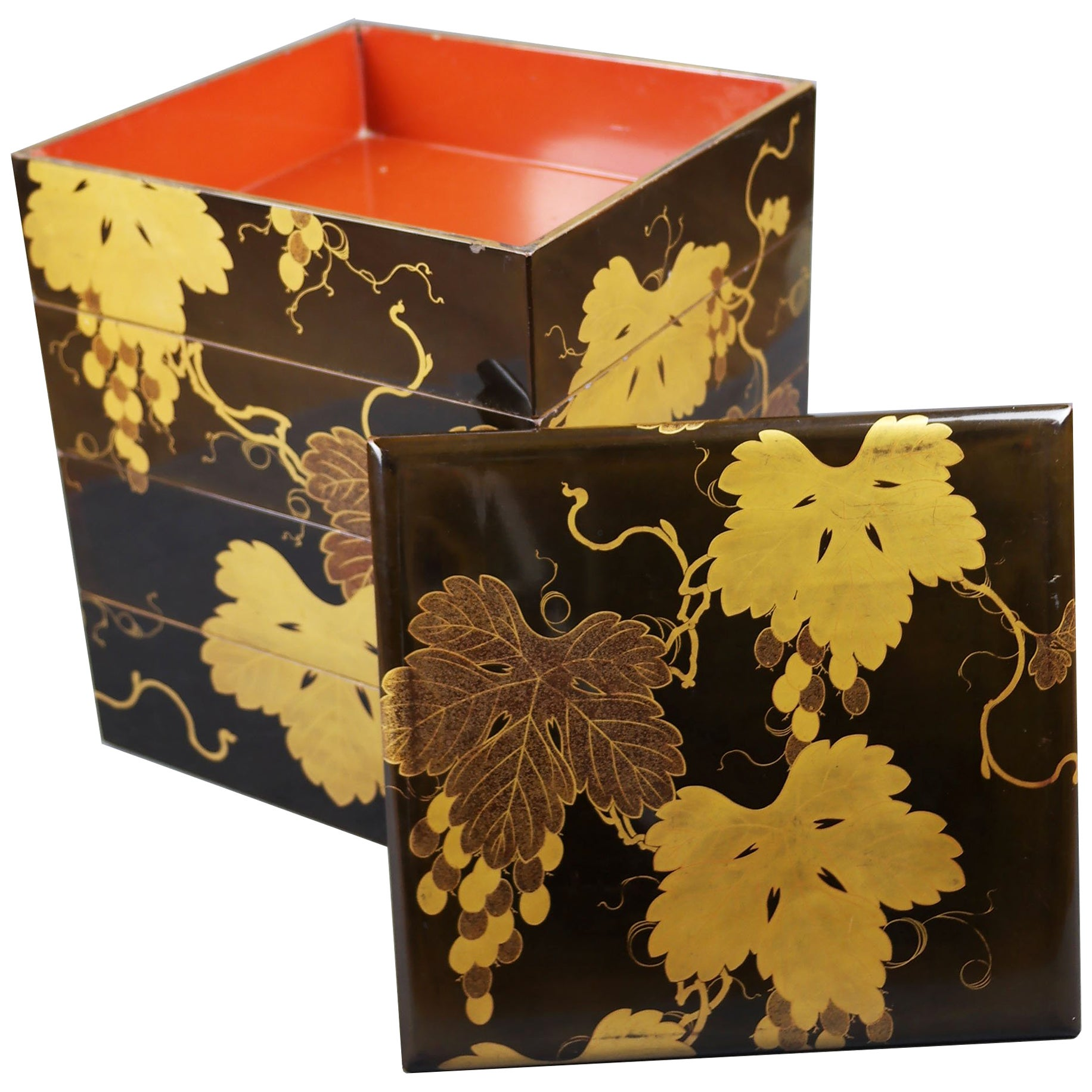 Early 19th Century, Bento Box with Grapes Design, Edo Period, Art of Japan