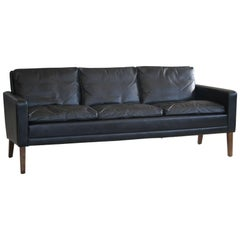1960s Georg Thams Style Danish Black Leather Three-Seat Sofa