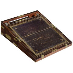 Rare Regency Rosewood and Brass Writing Slope Lap Desk, England, circa 1815