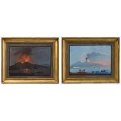 Pair of Neapolitan Gouache ''Eruzione 8 De Febrero De 1850'', 19th Century