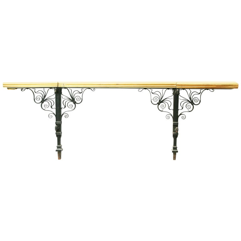 Wrought Iron and Brass Balcony Rails For Sale