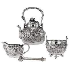 Antique 20th Century Japanese Solid Silver Tea Set, Yokohama, Konoike circa 1900