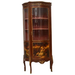 Antique French Ormolu-Mounted Painted Display Cabinet