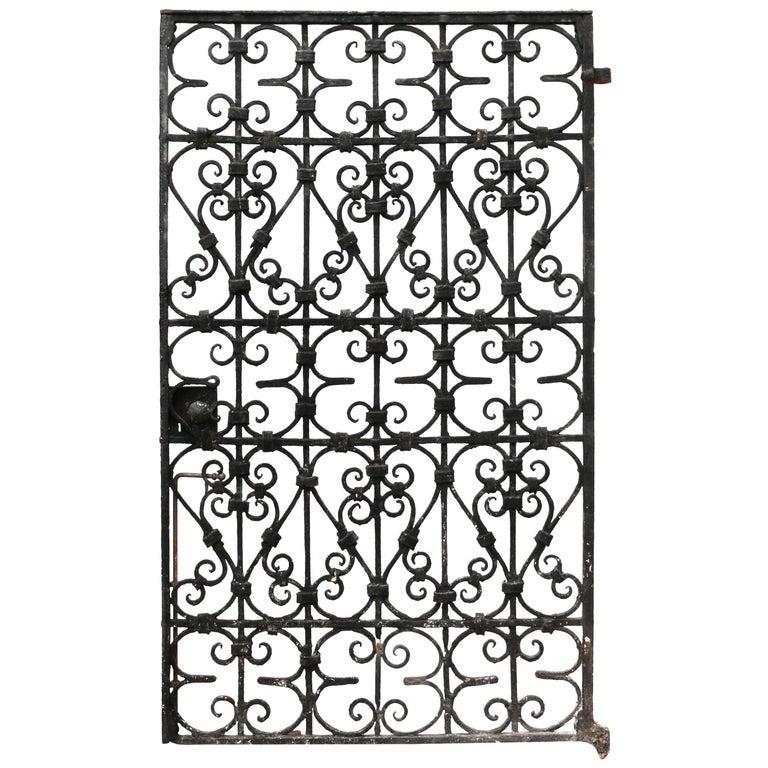 Black Wrought Iron Pedestrian Gate, circa 1900 For Sale