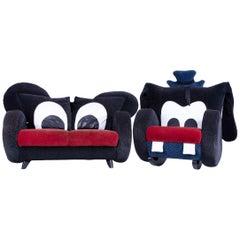 Bretz Mickey Mouse and Goofy Kids Designer Sofa Set Chair Fabric Black