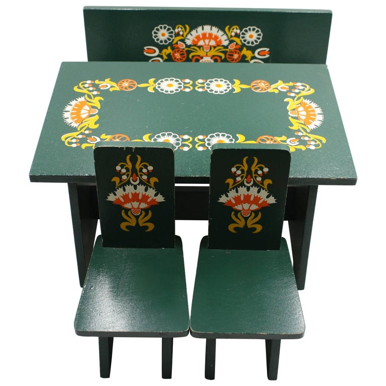 Midcentury Hand-Painted Dolls Furniture Germany For Sale