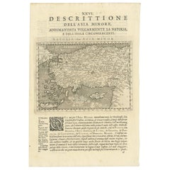 Antique Map of the Cyprus, Asia Minor, Turkey and Greece by G.A. Magina, 1596