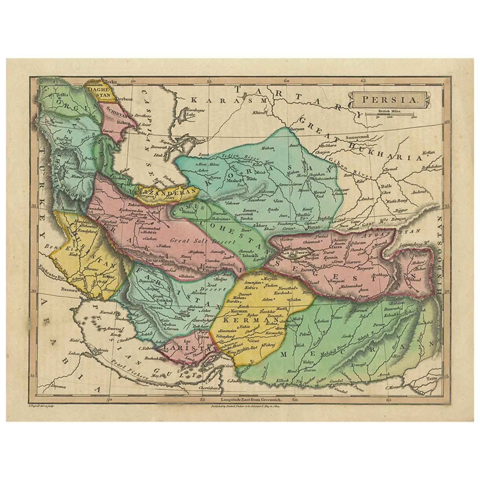 Antique Map of Persia by I. Russel, 1814