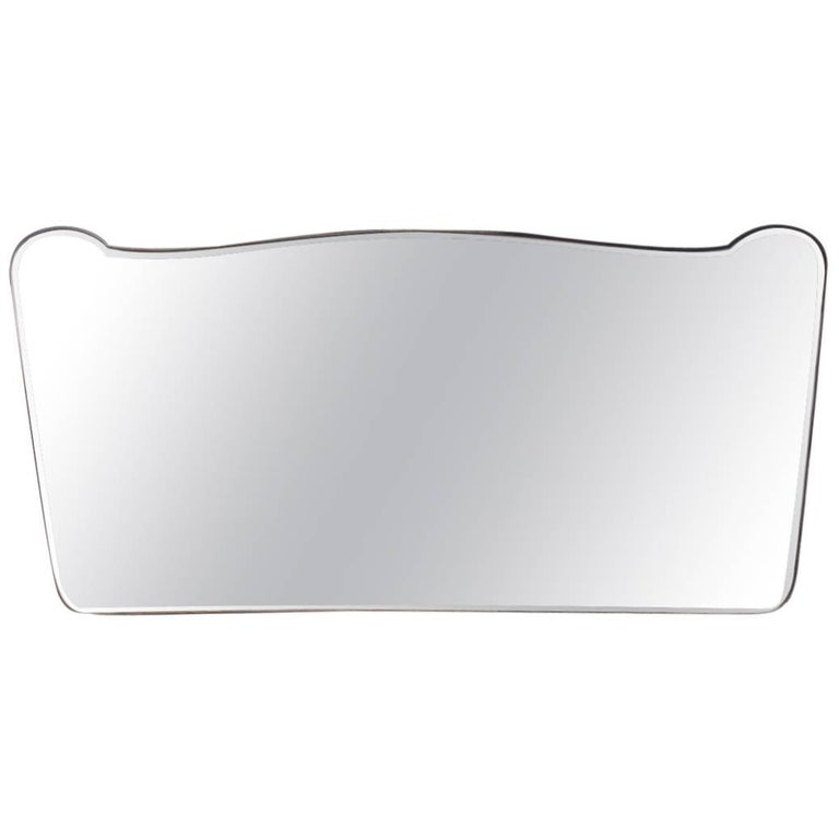 Large and Spectacular Italian Wall Mirror from the 1950s Brass Design