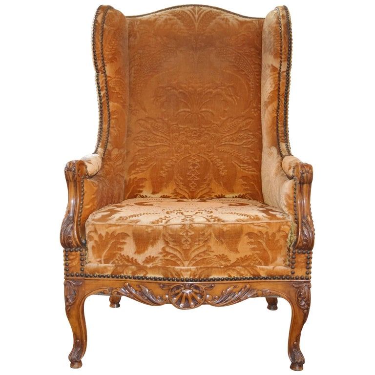 19th Century Carved Beechwood Wingback Chair