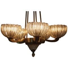 Chandelier Mid century modern design Glass and brass Italian design