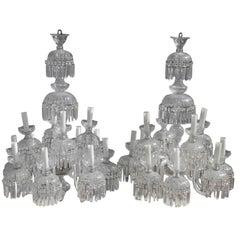 Large 1950s Bohemian Crystal Chandeliers Twelve Lights Elegance and Simplicity