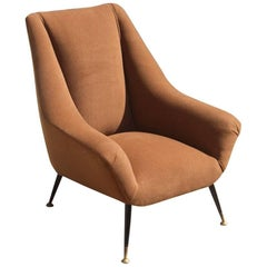 Mid-Century Italian Design Armchair 1950s Brown Feat Brass