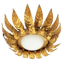 Gilt Metal and Opaline Glass Floral Sunburst Light Fixture, Spain 1950s