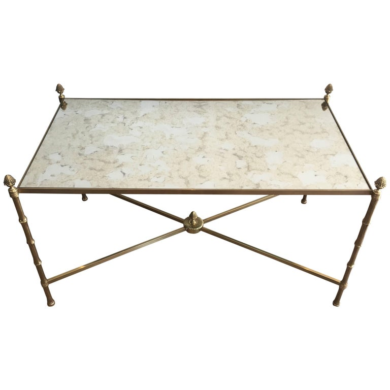 Bronze and Brass Neoclassical Coffee Table by Maison Baguès