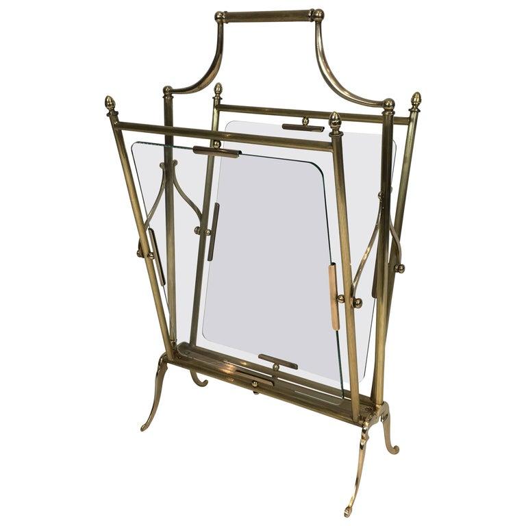 Brass and Glass Magazine Rack Attributed to Maison Jansen