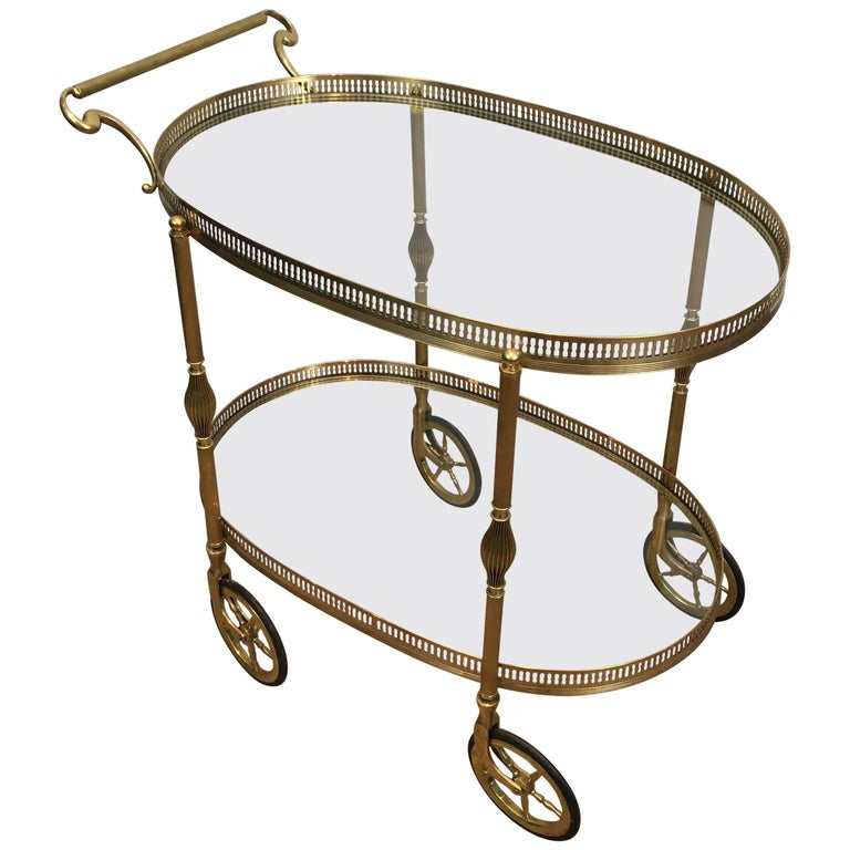 Oval Neoclassical Brass Bar Cart, French, 1940s