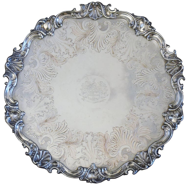 Continental Silver Plated Round Tray For Sale