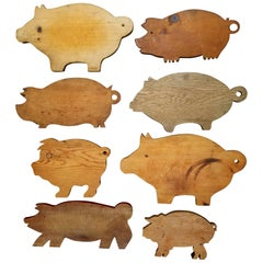 Set of Eight Vintage Swine Cutting Boards