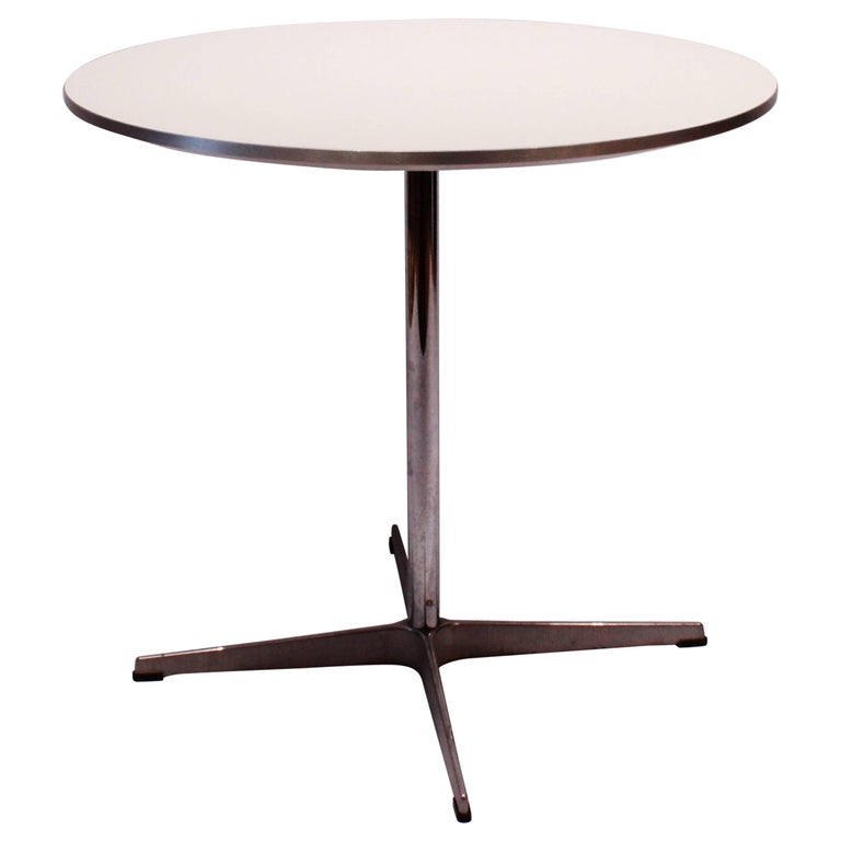 Round Café Table of White Laminate Tabletop, Piet Hein and Arne Jacobsen, 2008
