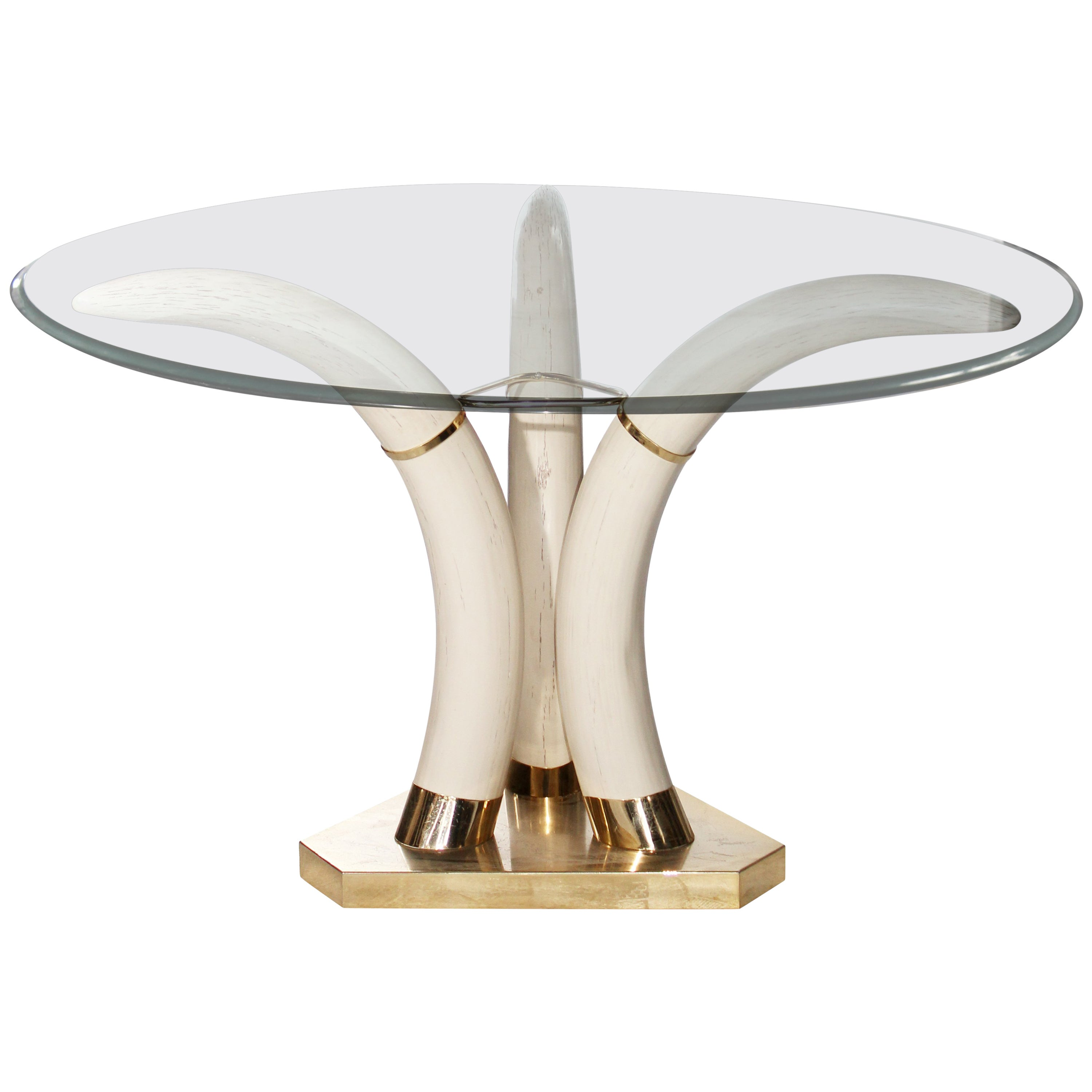 1980s Horn Bronze and Resin Coffee Table