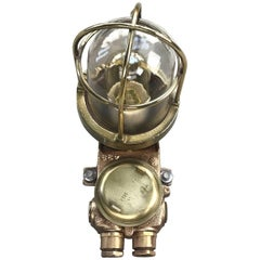 1970s Norwegian Cast Bronze & Brass Wall Light, with Cage & Tempered Glass Dome