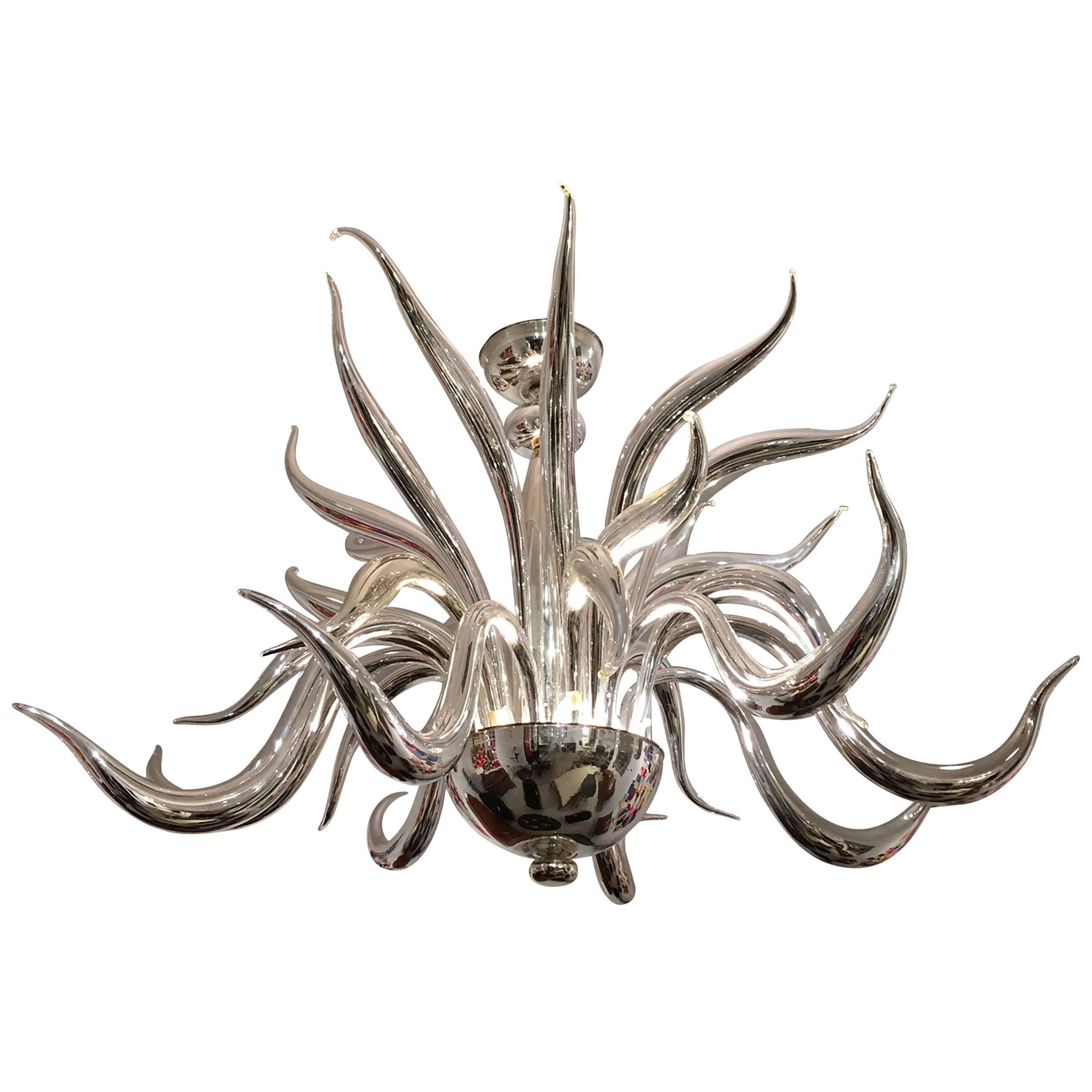 Italian Venetian Murano Silvered Glass Chandelier