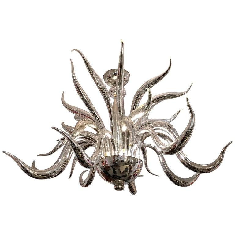Post-War Design Italian Venetian Murano 'Modern' Silvered Glass Chandelier