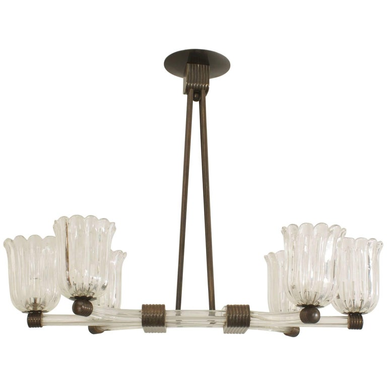 Italian Murano 1940s Chandelier with Three Rows of Clear Glass Tubes