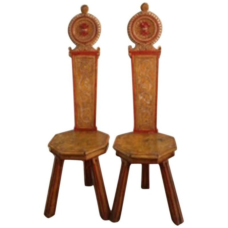 Pair of 19th Century Italian Painted Hall Chairs