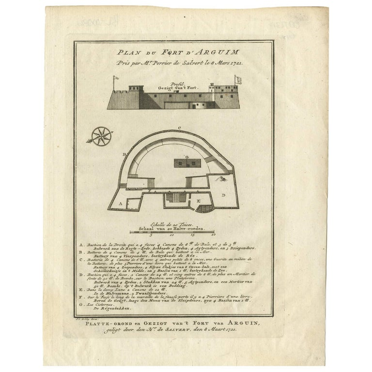 Antique Print of the Fortress of Arguin 'Mauritania, Africa' by J. van Schley