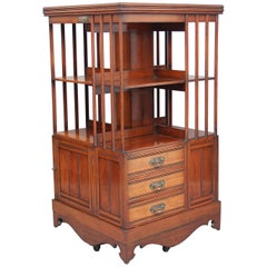 19th Century Walnut Revolving Bookcase
