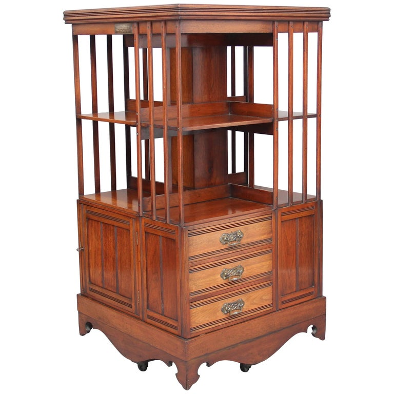 19th Century Walnut Revolving Bookcase