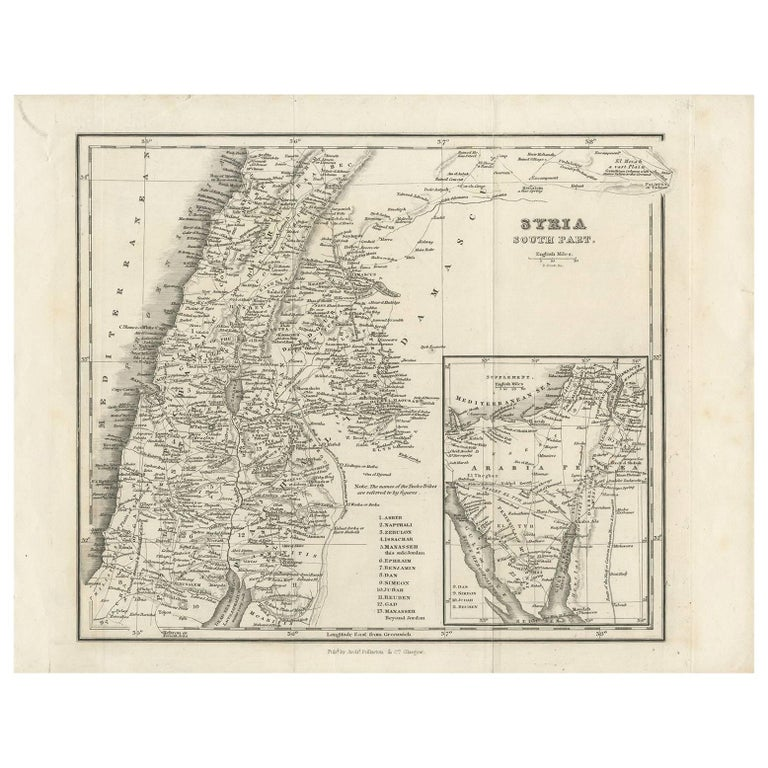 Antique Map of Southern Syria by Fullarton & Co, circa 1860 For Sale