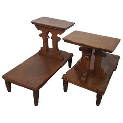 Late 19th Century Dutch Oak Stools in Gothic Style