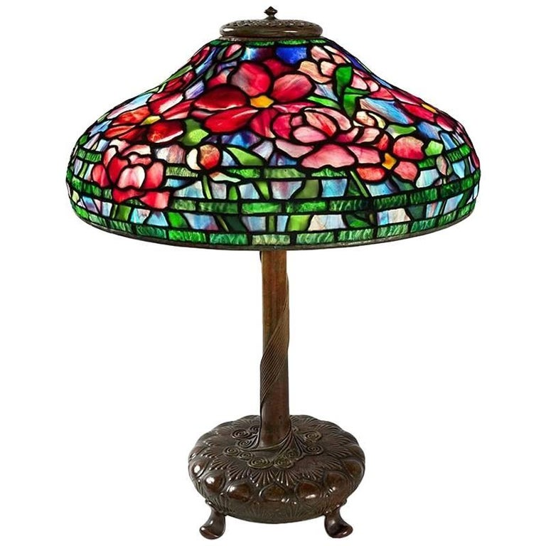 "Tiffany Studios ""Peony"" Table Lamp For Sale"