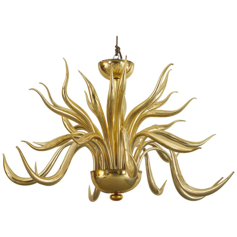 Post-War Design Italian Venetian Murano 'Modern' Gilt Glass Chandelier