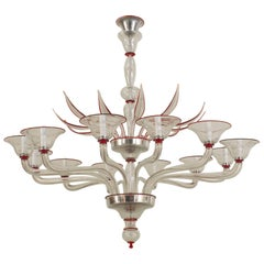 Italian Venetian Murano 1940s Style Modern Clear Glass & Red Trimmed Chandelier