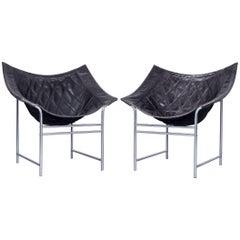 Montis Butterfly Design Armchair Set Black Leather by Gerard Van Den Berg, 1980s