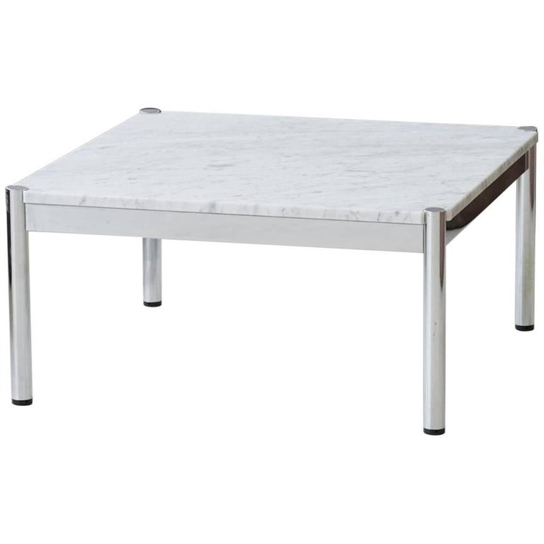 Usm Haller Design Carrara Marble Chrome Coffee Couch Sofa Side Table