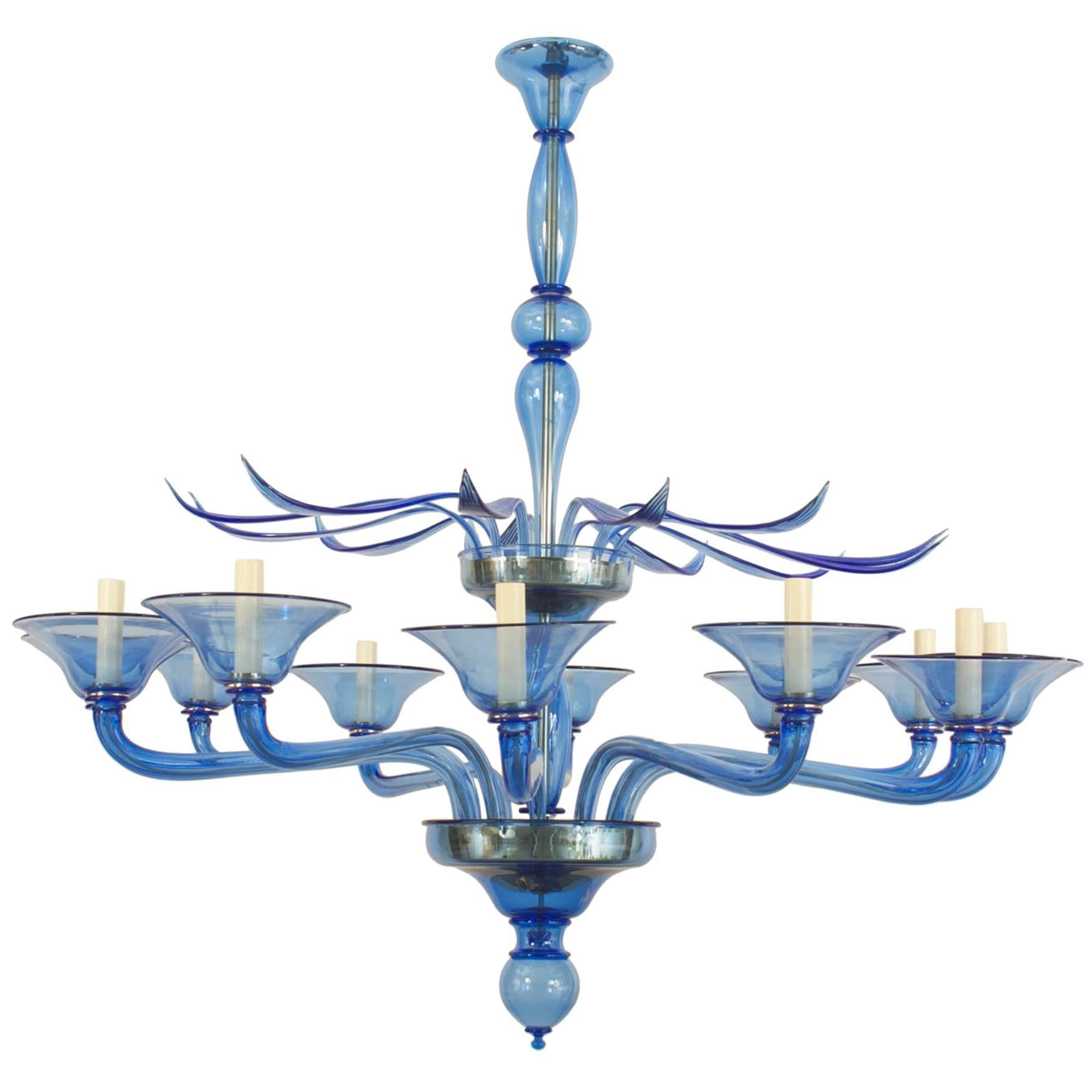 Italian Venetian Murano Blue Glass Chandeliers